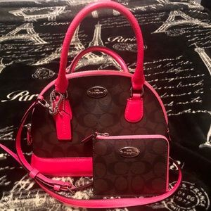Coach Cora Mini Domed Signature w/ matching wallet